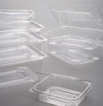 Contenitori in plastica in polietilene tereftalato rettangolari